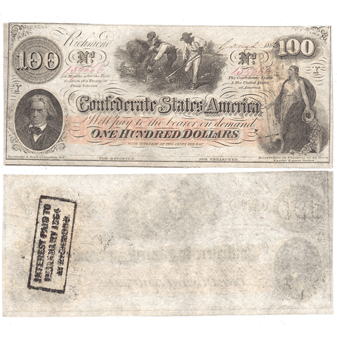 Pair of T-41 Jan. 2 1863 $100 Confederate States of America (C.S.A.) PF-59 & PF-60 ~ Crisp Uncirculated