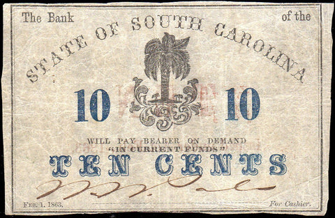 1863 10C Bank of the State of South Carolina Charleston - Very Fine