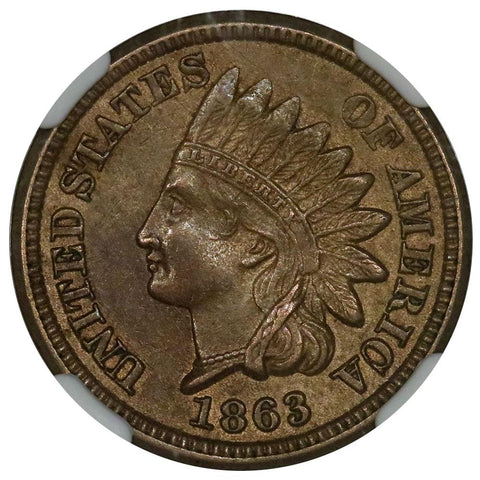 1863 Indian Cent - NGC AU 58 - Choice About Uncirculated