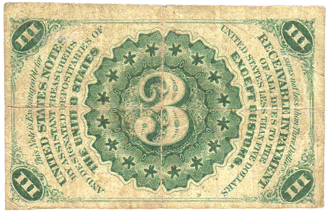 (1864-1869) 3rd Issue 3¢ Fractional Fr. 1226 (Light) ~ Fine+