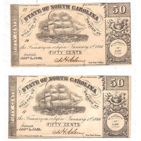 Consecutive Pair of 1863 50¢ State of North Carolina Notes - Cr. 136 - Uncirculated