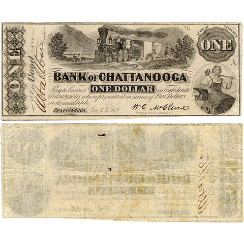 1863 $1 Bank of Chattanooga, TN TN-10 G34c - Very Fine