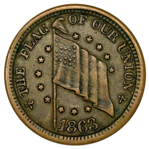 1864 Flag of our Union/DIX Patriotic Civil War Token Fuld 203-218/408-416 - Very Fine