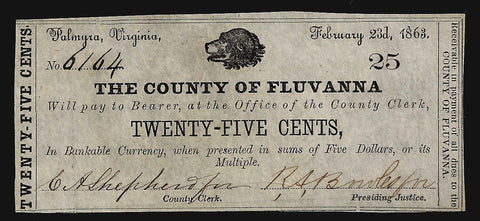 1863 25¢ County of Fluvanna, Palmyra, Virginia ~ Choice Crisp Uncirculated
