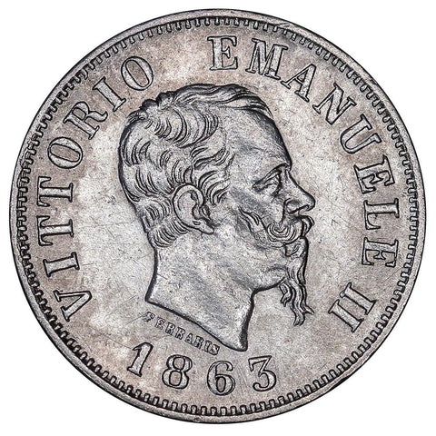 1863-MBN Italy Silver 50 Centesimi KM 14.1- About Uncirculated