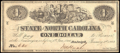 1863 $1 State of North Carolina Note - Cr. 133 - AU/UNC From Pack