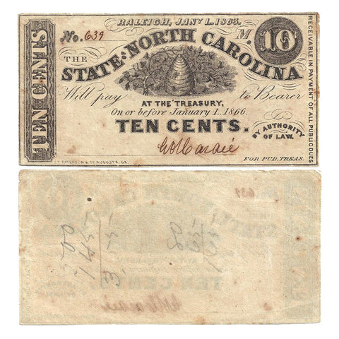 "1863 State of North Carolina ""Hornet's Nest"" 10¢ Fractionals Cr.147 - XF/AU"