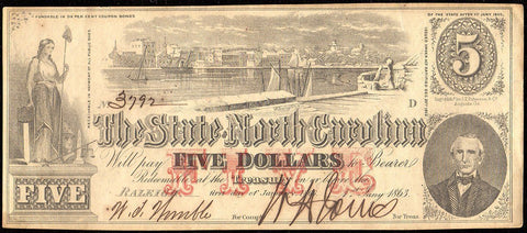 1863 $5 State of North Carolina Note - Cr. 123 - Choice About Uncirculated
