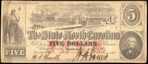 1863 $5 State of North Carolina Note - Cr. 123 - Choice Very Fine
