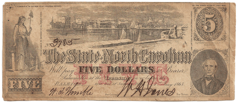 1863 $5 State of North Carolina Note - Cr. 123 - Nominal XF