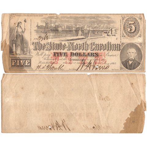 1863 $5 State of North Carolina Note - Cr. 123 - Net VG/Fine