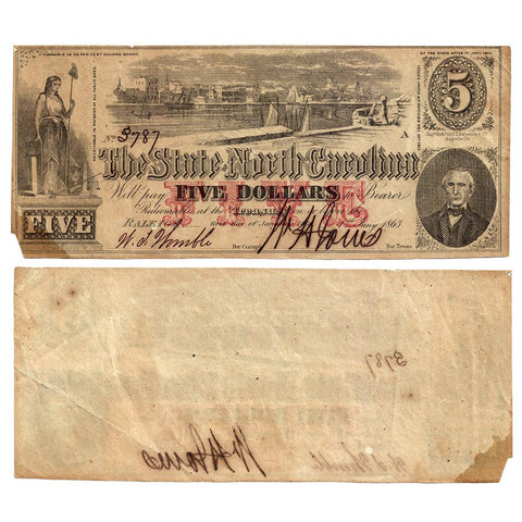 1863 $5 State of North Carolina Note - Cr. 123 - Net Fine