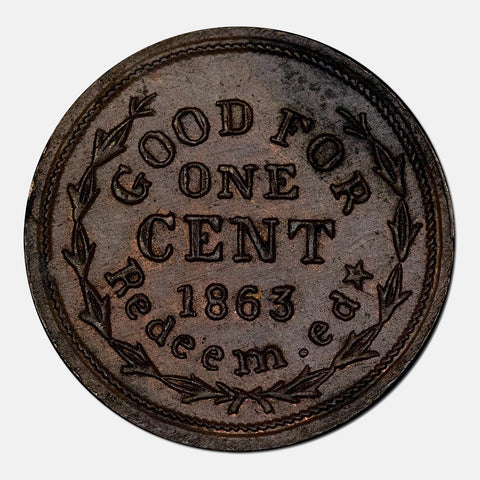 1863 Frank L. Gay - Rhode Island Bookseller Civil War Token RI-700E-2A (R2)
