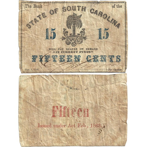 1863 15¢ Bank of the State of South Carolina Charleston - Very Good