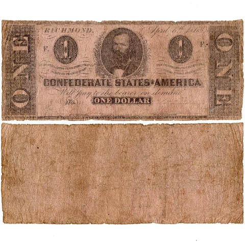T-62 Apr. 6 1863 $1 Confederate States of America (C.S.A.) ~ Very Good