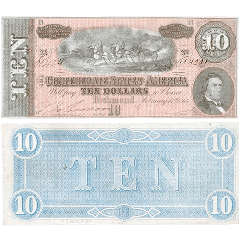 Deal! T-68 1864 $10 C.S.A. Notes on Special - Very Fine & Crisp Uncirculated