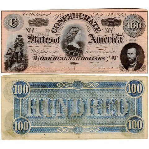 "T-65 Feb. 17 1864 ""Lucy Pickens"" $100 Confederate States of America ~ About Uncirculated"