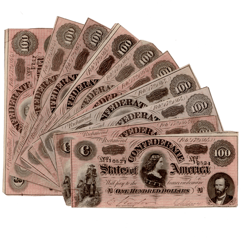 "T-65 1864 ""Lucy Pickens"" $100 Confederate States of America (C.S.A.) Note Deal ~ Crisp Very Fine"
