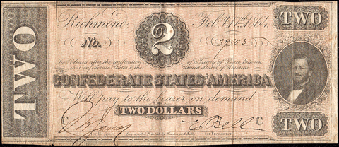 T-70 Feb. 17 1864 $2 Confederate States of America (C.S.A.) PF-4/Cr.566 - Very Fine