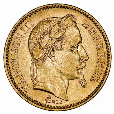 1864-A French Napoleon 20 Franc Gold Coin KM. 801.1 - About Uncirculated
