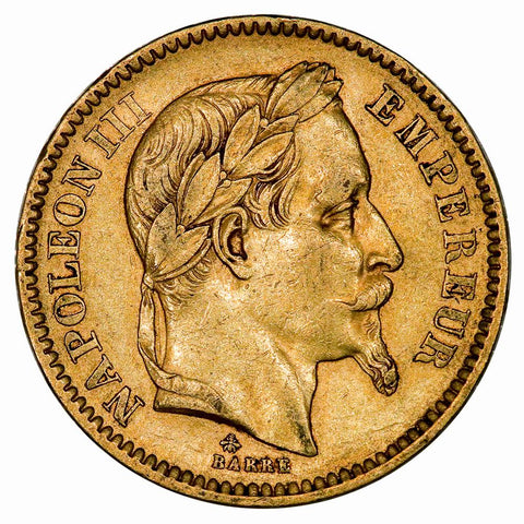 1864-A French Napoleon 20 Franc Gold Coin KM. 801.1 - Extremely Fine