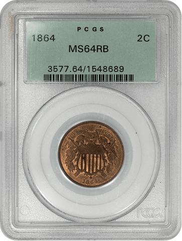 1864 Large Motto Two Cent Piece - PCGS MS 64 RB - Choice Uncirculated Red & Brown