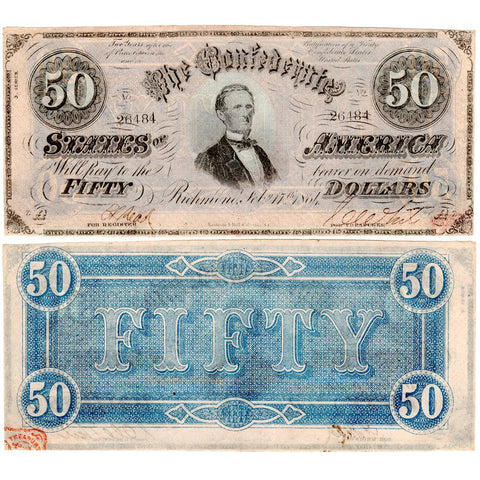 T-66 1864 $50 Confederate States of America Notes - Crisp Uncirculated