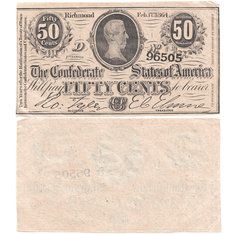 T-72 Feb. 17 1864 50c Confederate States of America (C.S.A.) - Extremely Fine