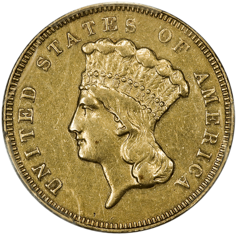 1866 $3 Princess Gold Coin (Scarce!) - PCGS About Uncirculated Detail
