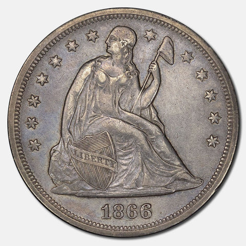 1866 Seated Liberty Dollar (With Motto) - About Uncirculated