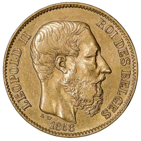 1868 Belgium Leopold II 20 Francs Gold Coin KM.32 - About Unciruclated