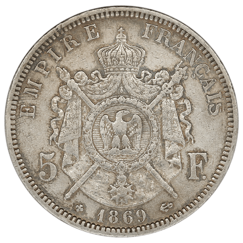1869-A France Silver Napoleon 5 Francs KM.799.1 - Extremely Fine Detail (cleaned)