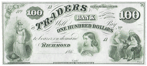 186_ $100 Traders Bank of the City of Richmond, VA. ~ VA-195-G10 ~ Choice Uncirculated