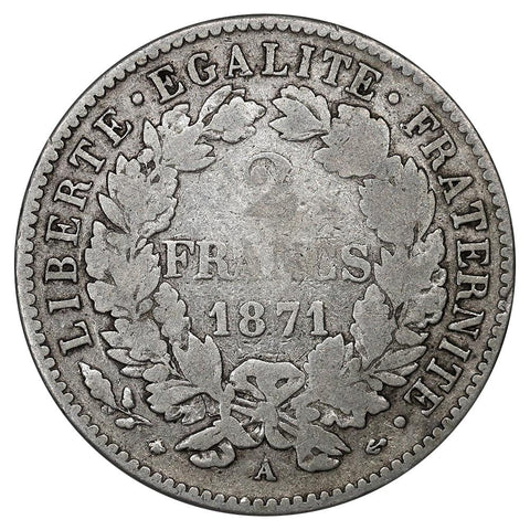 1871-A France Silver 2 Francs KM.817.1 - Very Fine