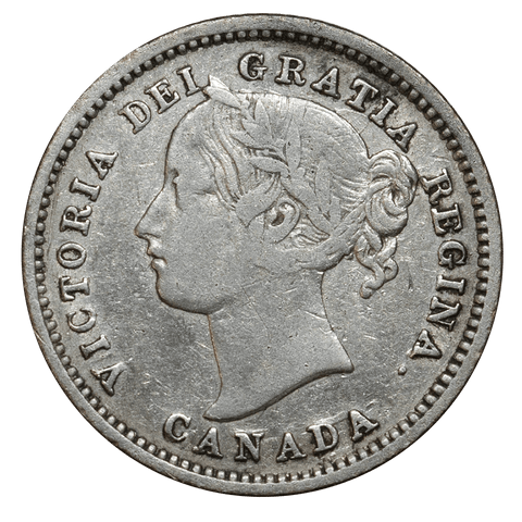 1870 Narrow 0 Canada 10 Cent Silver KM.3 - Fine/Very Fine