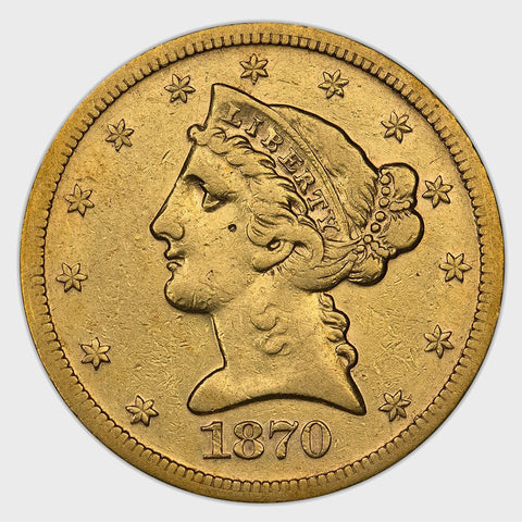 Scarce 1870-S $5 Liberty Head Half Eagle - Extremely Fine Details