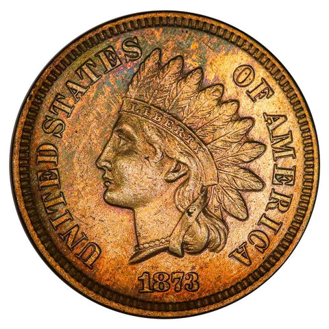 1873 Open 3 Indian Head Cent - Extremely Fine