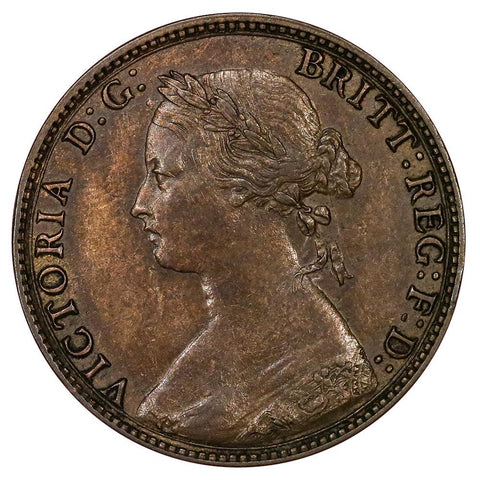 1874-H Great Britain Half Penny KM.754 - Choice About Uncirculated
