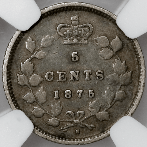 1875-H Small Date Canada 5 Cent Silver KM.2 - NGC VG 10
