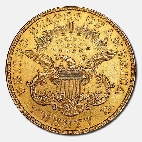 1876 Type 2 $20 Liberty Double Eagle Gold Coin - About Uncirculated