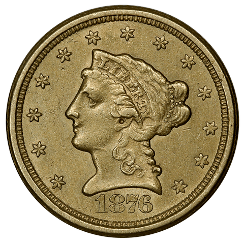 Rare 1876-S $2.5 Liberty Gold Coin - Nominal About Uncirculated
