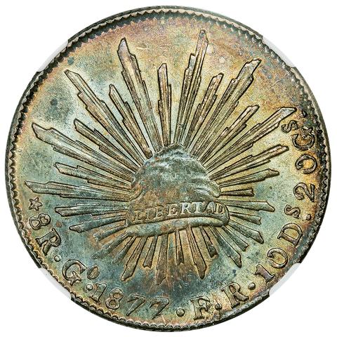 1877-GoFR Wide Date Mexico Cap & Rays 8 Reales - KM.377.8 - NGC AU 55 (Gorgeous!)