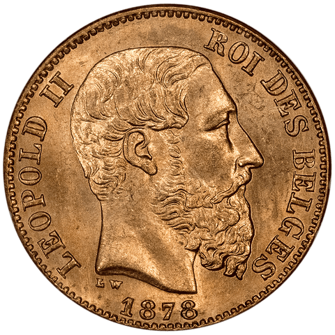 1878 Belgium Leopold II 20 Francs Gold Coin KM.37 - NGC MS 65