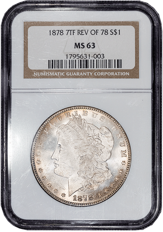 1878 7TF Long Nock Morgan Dollar VAM-83  in NGC MS 63