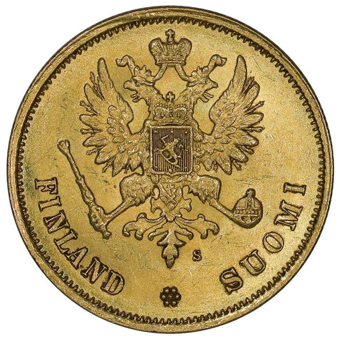 1878-S Finland Gold 10 Markkaa KM.8.1 - About Uncirculated