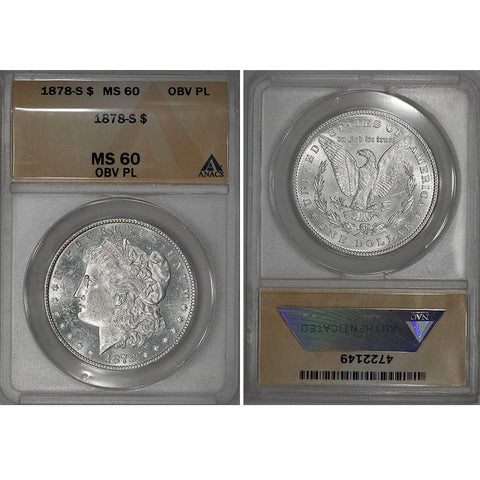 1878-S Morgan Dollar - ANACS MS 60 PL Obverse - Brilliant Uncirculated