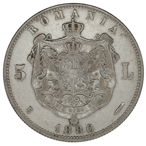 1880 Romania Silver 5 Lei KM.12 - Extremely Fine