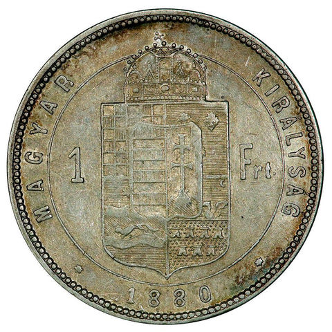 1880-KB Hungary Silver Forint KM. 465 - Extremely Fine
