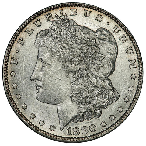 1880-O Morgan Dollar Top-100 VAM-4 Crossbar Overdate Micro O - Choice About Uncirculated