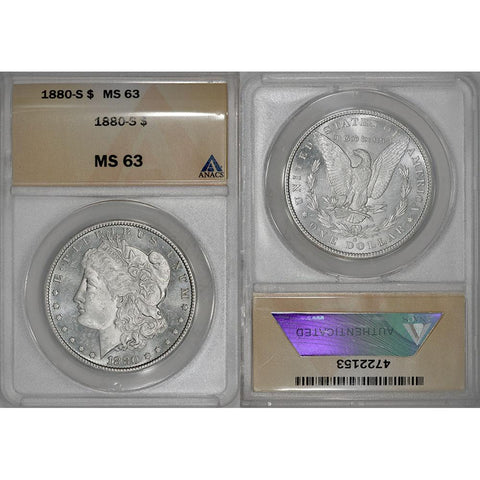 1880-S Morgan Dollar - ANACS MS 63 - Choice Brilliant Uncirculated